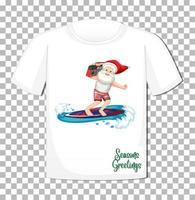 personagem de desenho animado de papai noel com tema natal verão em camiseta com fundo transparente vetor