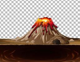 erupção do vulcão com caverna em fundo transparente vetor
