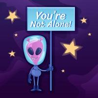 você não está sozinho na mídia social vetor