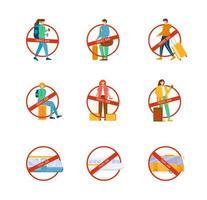 conjunto de caracteres de proibição de viagens vetor