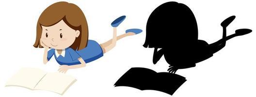 menina lendo livro em cores e silhueta vetor