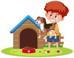 crianças com seus animais de estimação isolados no fundo branco vetor