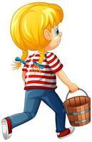 verso de uma menina segurando um personagem de desenho animado de balde de madeira isolado no fundo branco