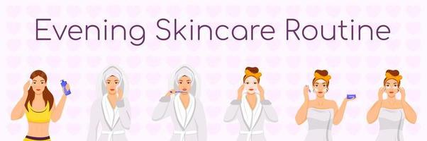 Conjunto de rotina de cuidados da pele à noite vetor