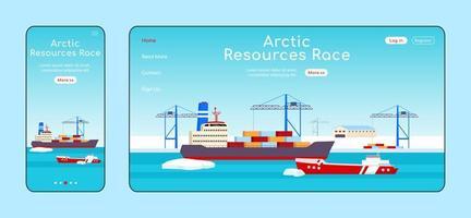 página de destino adaptativa de corrida de recursos árticos vetor