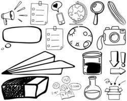 conjunto de item e símbolo desenhado à mão doodle vetor