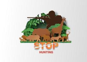 pare de caçar animais vetor