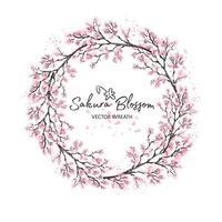 cereja do Japão sakura com aquarela de flores desabrochando vetor