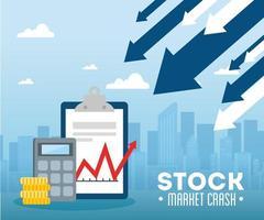 Banner crash do mercado de ações com setas para baixo vetor