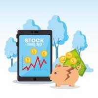 Queda do mercado de ações com tablet vetor