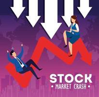 quebra do mercado de ações com empresários e flecha para baixo vetor