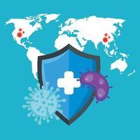 banner médico de coronavírus com escudo de segurança