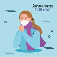 mulher infectada com banner covid-19 vetor