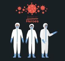 médicos heróis com roupas de proteção, máscaras e óculos vetor