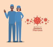 mulheres e homens médicos heróis com uniformes e óculos vetor