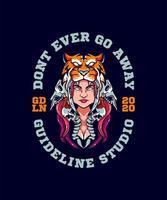 menina com design de t-shirt de chapéu de tigre vetor