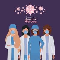 mulheres médicas heróis com uniformes e máscaras vetor