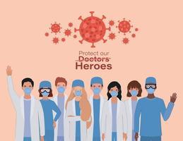 mulheres e homens médicos heróis com uniformes e máscaras vetor