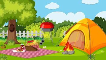 acampar ou fazer um piquenique no parque natural durante o dia vetor