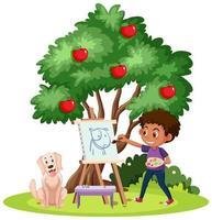 um menino pintando em tela com um cachorro em branco vetor