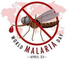 banner do dia mundial da malária sem sinal de mosquito vetor