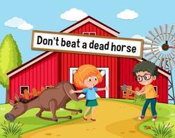 pôster idiomático com não bata em um cavalo morto vetor