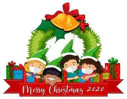 banner de feliz natal 2020 com crianças usando máscaras vetor