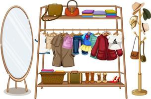 roupas penduradas em um varal com acessórios vetor