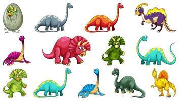 conjunto de diferentes personagens de desenhos animados de dinossauros vetor
