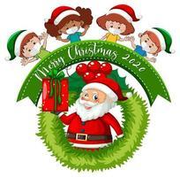 banner de feliz natal com crianças usando máscara vetor