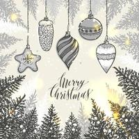 mão desenhada enfeites de natal e árvores vetor