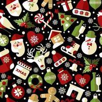 Natal sem costura padrão de ícones em fundo preto vetor