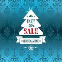 etiqueta de venda de árvore de natal em azul vetor