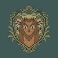 design de t-shirt de coruja e caveira vetor