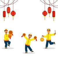 cimbalando três meninos para a dança do leão chinês vetor