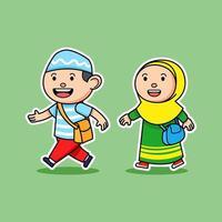 estudante muçulmano cômico, menino e menina, caminhando para a escola vetor