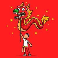 personagem de desenho animado de dança de dragão