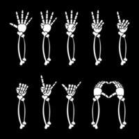 coleção de mãos de horror de desenho animado de esqueleto vetor