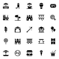ícones glifo de parque temático