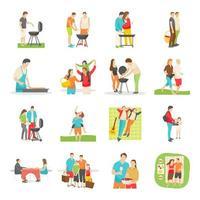 ícones planos de piquenique em família vetor
