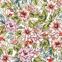 padrão de rosa selvagem sem costura vetor