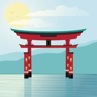 Santuário japonês vetor