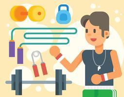 Ilustração estilosa do instrutor de fitness vetor