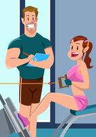 Prática elegante de treinador de fitness vetor
