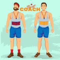 Melhor treinador esportivo em posição de posição vetor