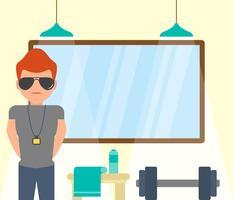 Vetores icônicos estilizados de formador de fitness