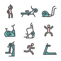 Conjunto De Máquinas De Fitness E Exercícios vetor