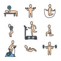 Treinadores de fitness fazendo exercício vetor