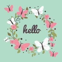 Grinalda colorida com borboletas vetor