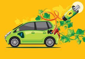 Carro verde ou carro eletrônico vetor